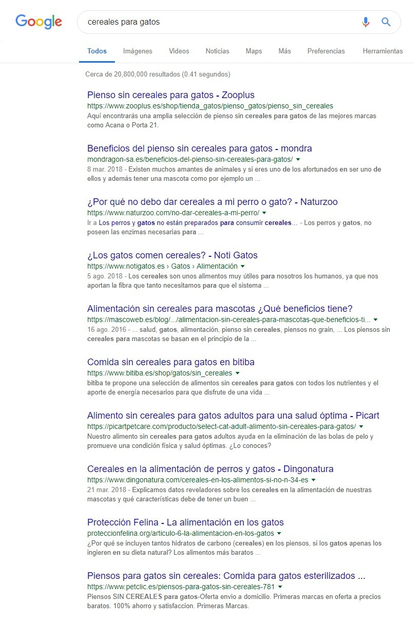captura google cereales para gastos