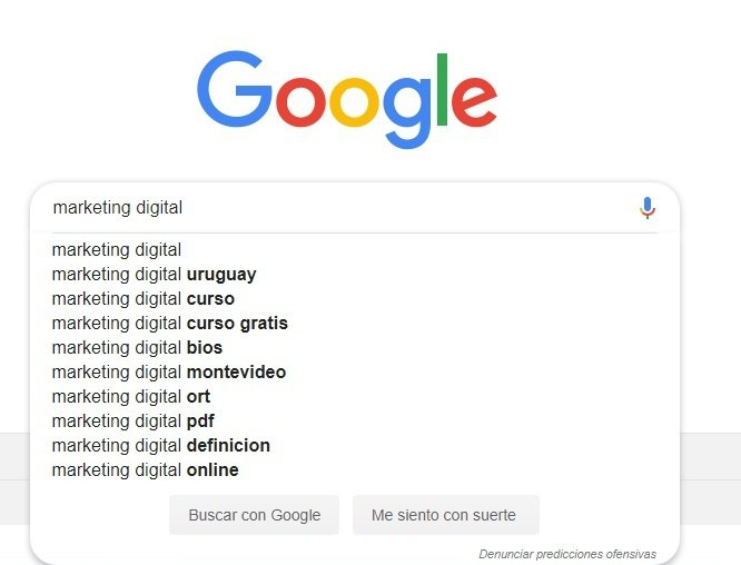 Sugerencias de autocompletado para Marketing Digital