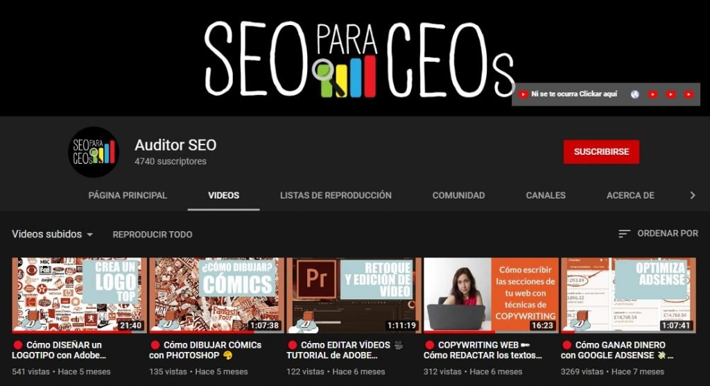 Canal de YouTube de Auditor SEO