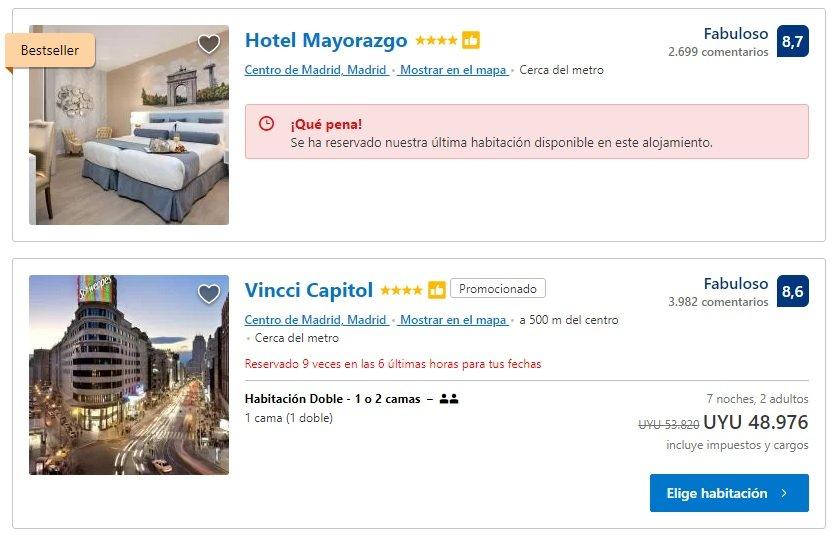 Oportunidades perdidas en Booking.com