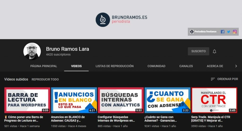 Canal de YouTube de Bruno Ramos