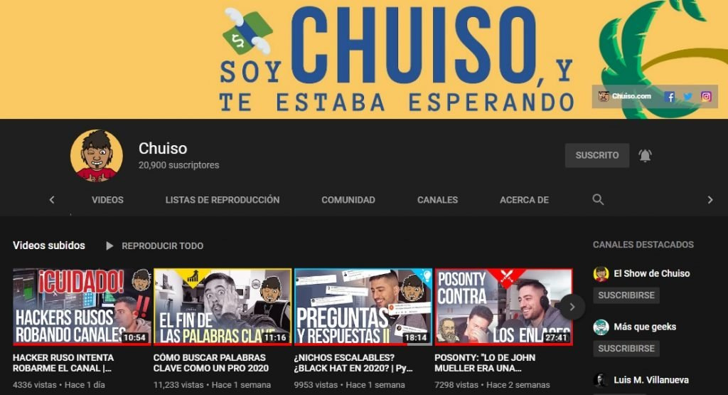 Canal de YouTube de Chuiso