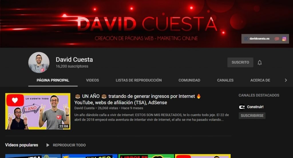 Canal de YouTube de David Cuesta