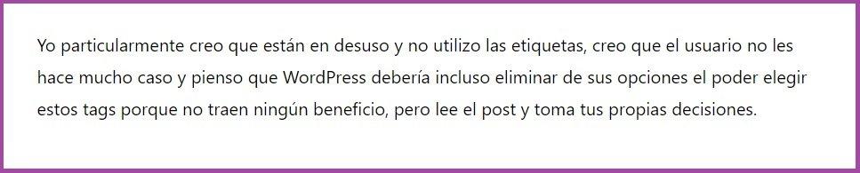 Opinión de José Peña sobre Etiquetas de WordPress.