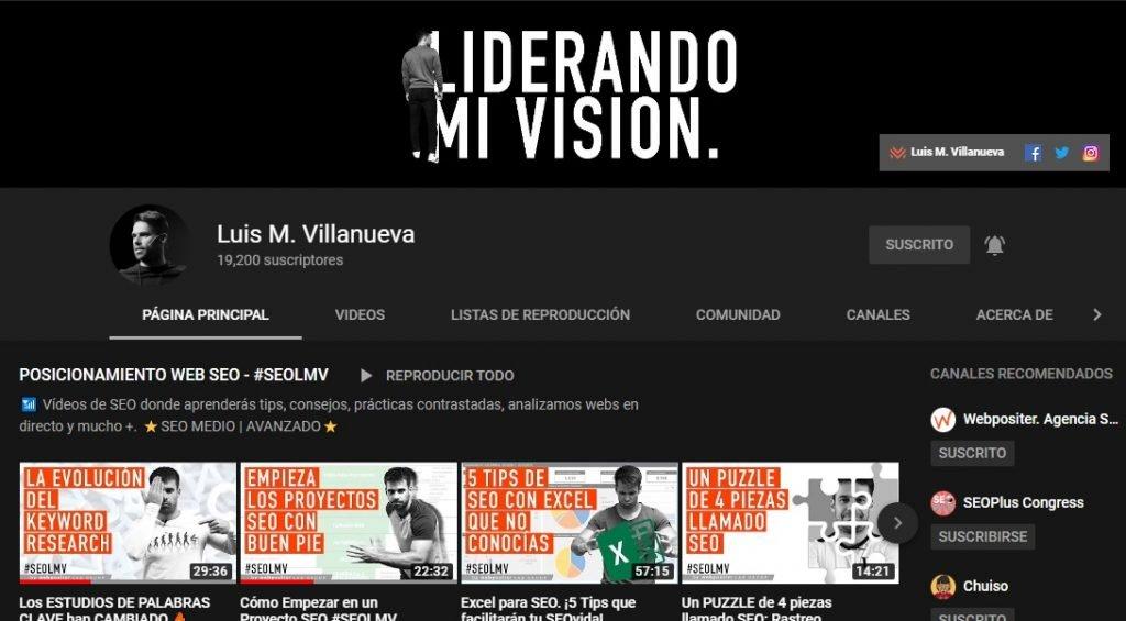 Canal de YouTube de Luis M. Villanueva
