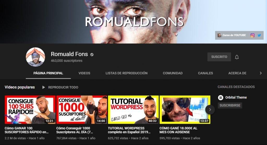 Canal de YouTube de Romuald Fons