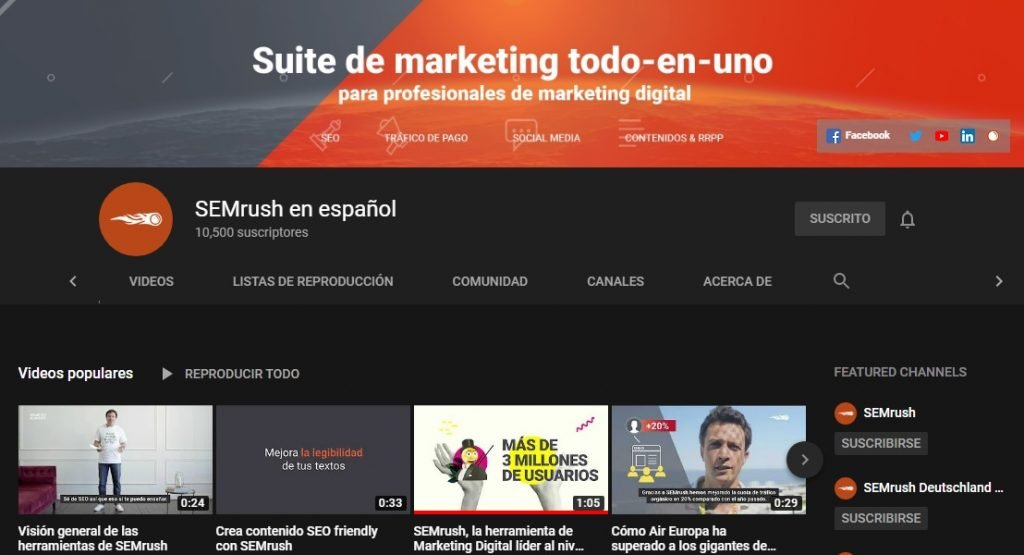 Canal de YouTube de SEMrush