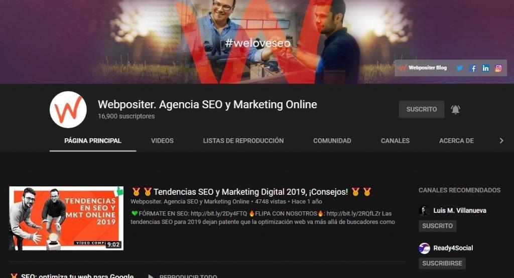 Canal de YouTube Webpositer